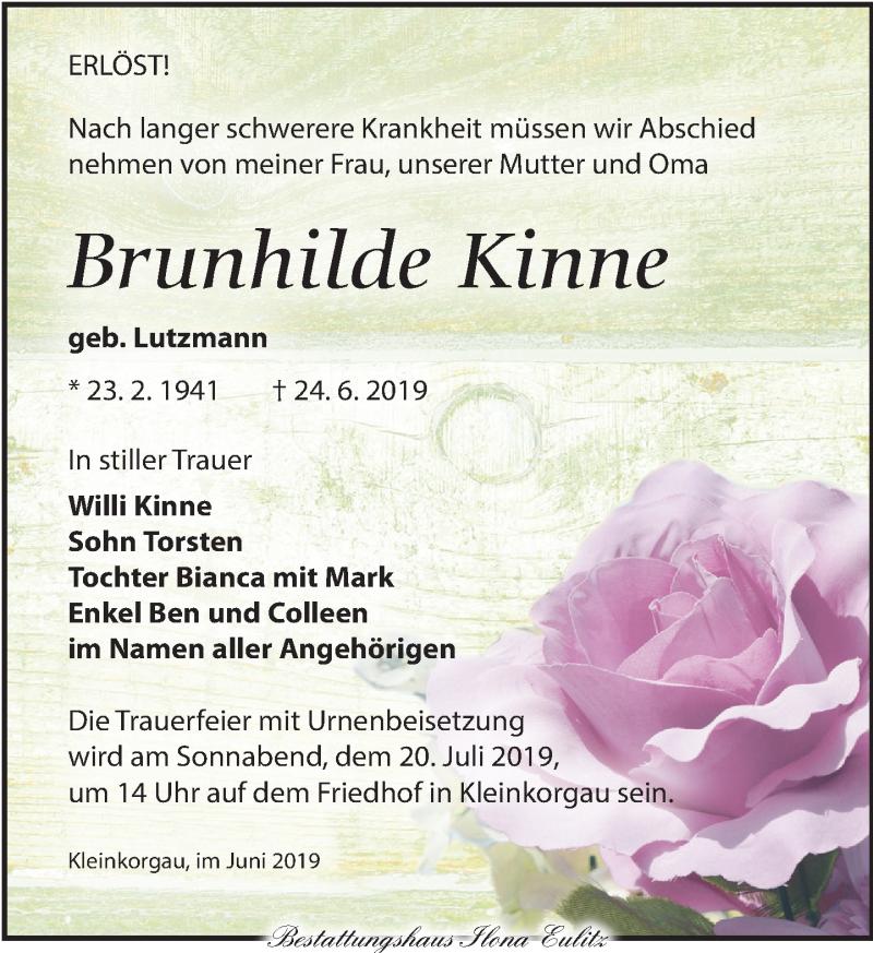 Traueranzeige für Brunhilde Kinne vom 29.06.2019 aus Torgauer Zeitung