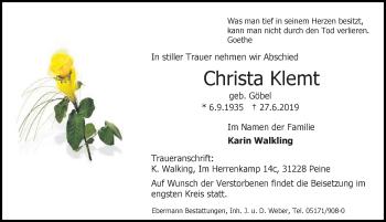 Traueranzeige für Christa Klemt vom 29.06.2019 aus Peiner Allgemeine Zeitung