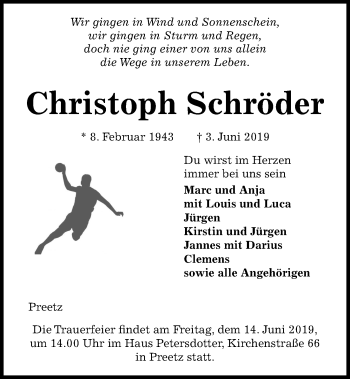 Traueranzeige für Christoph Schröder vom 08.06.2019 aus Kieler Nachrichten