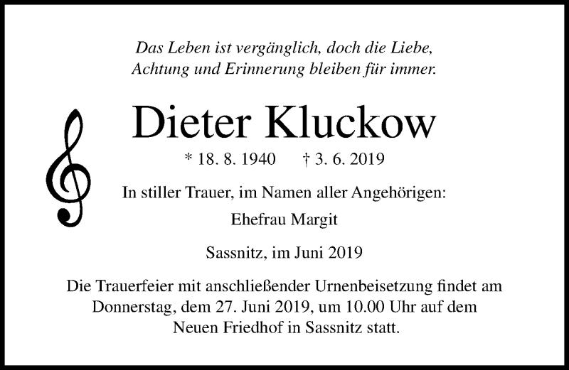 Traueranzeige für Dieter Kluckow vom 08.06.2019 aus Ostsee-Zeitung GmbH