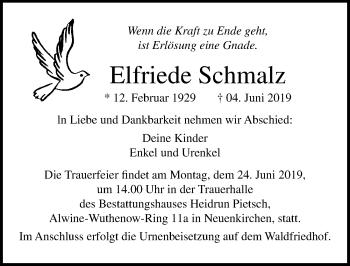 Traueranzeige für Elfriede Schmalz vom 08.06.2019 aus Ostsee-Zeitung GmbH