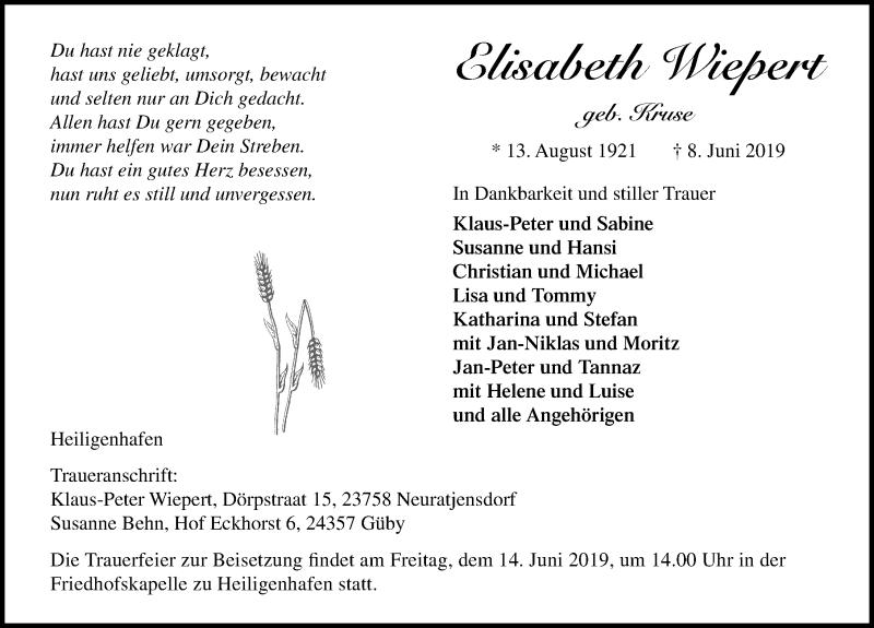 Traueranzeige für Elisabeth Wiepert vom 12.06.2019 aus Lübecker Nachrichten