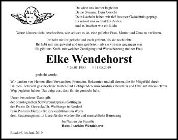 Traueranzeige für Elke Wendehorst vom 08.06.2019 aus Göttinger Tageblatt