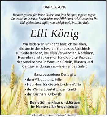Traueranzeige für Elli König vom 15.06.2019 aus Torgauer Zeitung