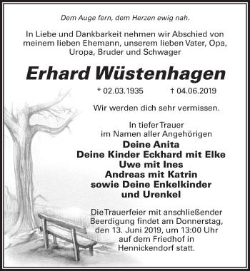 Traueranzeige für Erhard Wüstenhagen vom 08.06.2019 aus Märkischen Allgemeine Zeitung