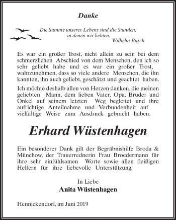 Traueranzeige für Erhard Wüstenhagen vom 22.06.2019 aus Märkischen Allgemeine Zeitung