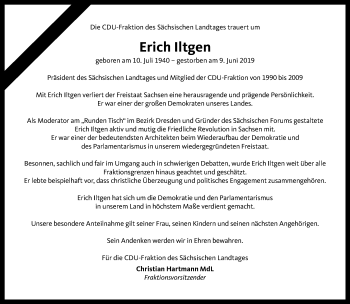 Traueranzeige für Erich Iltgen vom 21.06.2019 aus Torgauer Zeitung