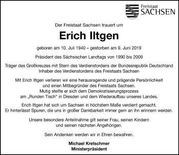 Traueranzeige für Erich Iltgen vom 14.06.2019 aus Torgauer Zeitung