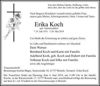Traueranzeige für Erika Koch vom 01.06.2019 aus Schaumburger Nachrichten