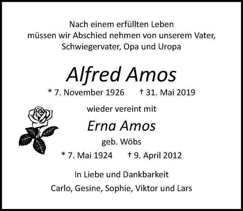 Traueranzeige für Erna Amos vom 09.06.2019 aus Lübecker Nachrichten