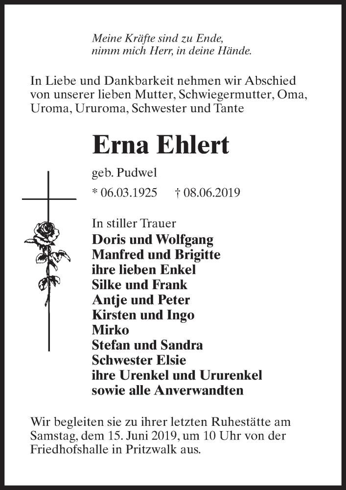 Traueranzeige für Erna Ehlert vom 12.06.2019 aus Märkischen Allgemeine Zeitung