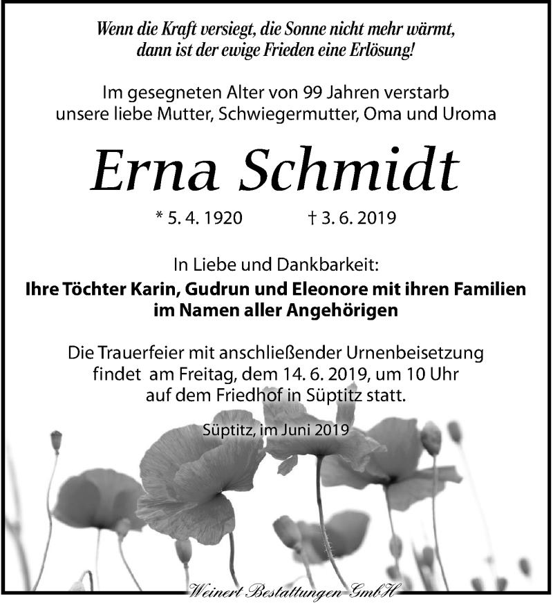 Traueranzeige für Erna Schmidt vom 08.06.2019 aus Torgauer Zeitung