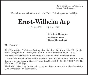 Traueranzeige für Ernst-Wilhelm Arp vom 08.06.2019 aus Kieler Nachrichten