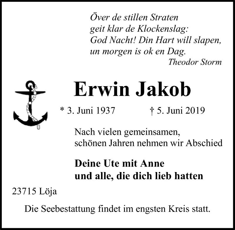 Traueranzeige für Erwin Jakob vom 09.06.2019 aus Lübecker Nachrichten