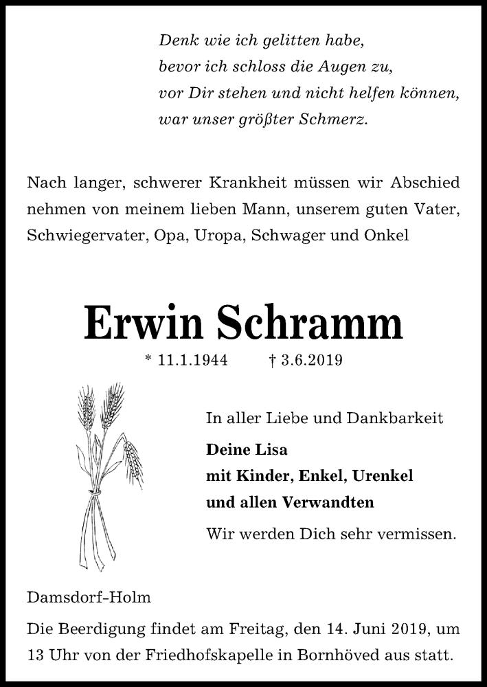 Traueranzeige für Erwin Schramm vom 12.06.2019 aus Kieler Nachrichten