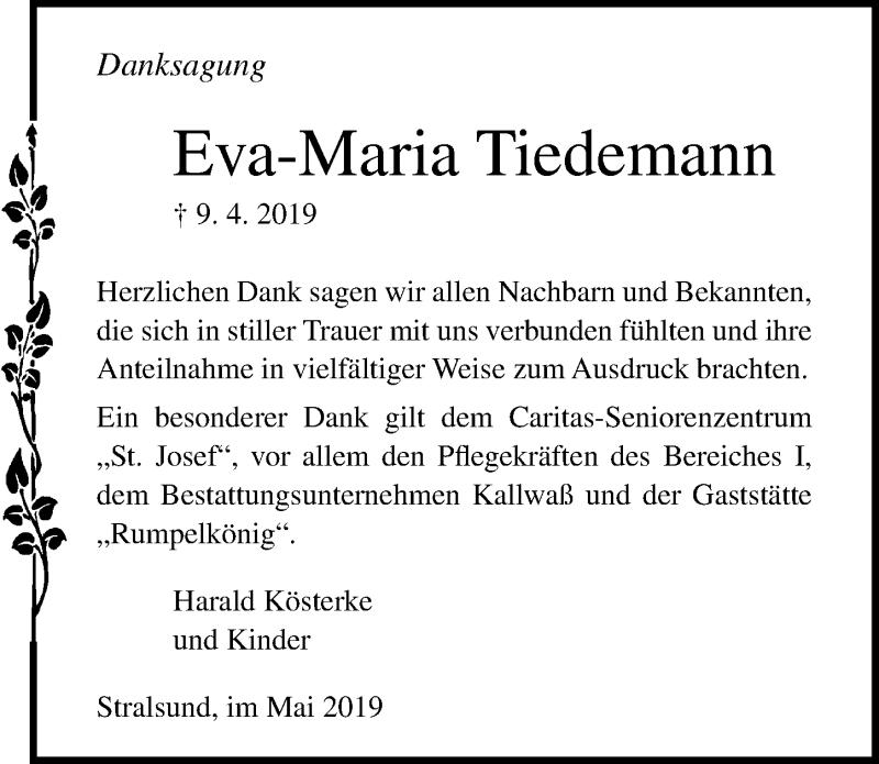 Traueranzeige für Eva-Maria Tiedemann vom 08.06.2019 aus Ostsee-Zeitung GmbH