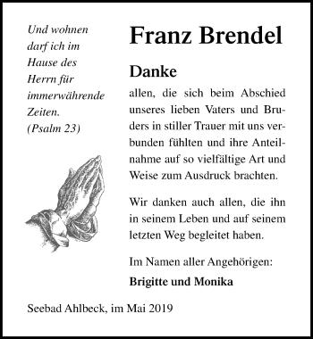 Traueranzeige für Franz Brendel vom 08.06.2019 aus Ostsee-Zeitung GmbH