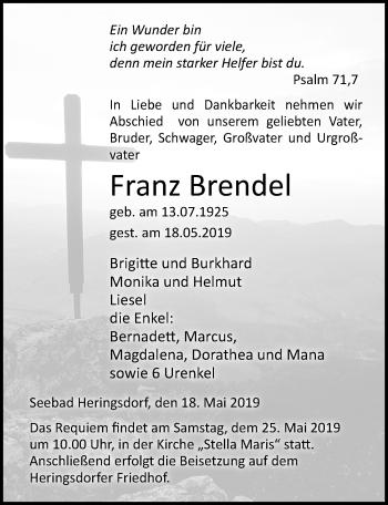 Traueranzeige für Franz Brendel vom 23.05.2019 aus Ostsee-Zeitung GmbH