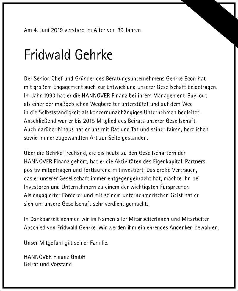 Traueranzeige für Fridwald Gehrke vom 15.06.2019 aus Hannoversche Allgemeine Zeitung/Neue Presse