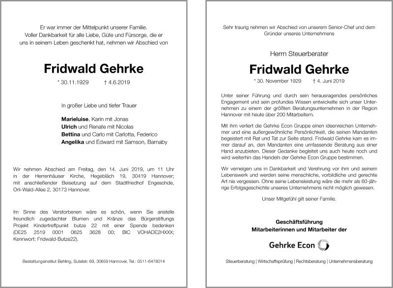 Traueranzeige für Fridwald Gehrke vom 08.06.2019 aus Hannoversche Allgemeine Zeitung/Neue Presse
