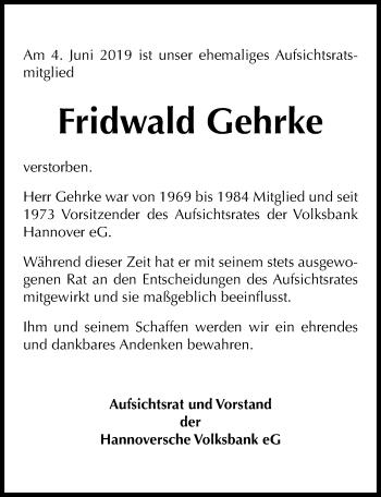 Traueranzeige für Fridwald Gehrke vom 13.06.2019 aus Hannoversche Allgemeine Zeitung/Neue Presse