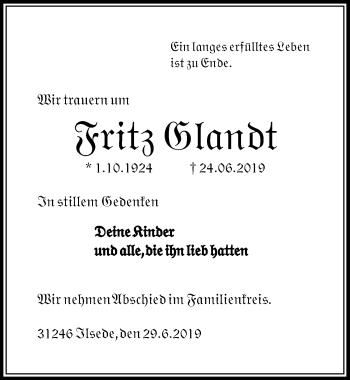 Traueranzeige für Fritz Glandt vom 29.06.2019 aus Peiner Allgemeine Zeitung