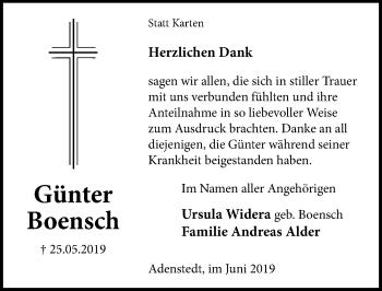 Traueranzeige für Günter Boensch vom 07.06.2019 aus Peiner Allgemeine Zeitung