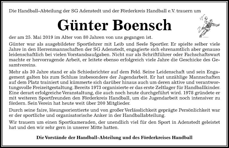 Traueranzeige für Günter Boensch vom 01.06.2019 aus Peiner Allgemeine Zeitung
