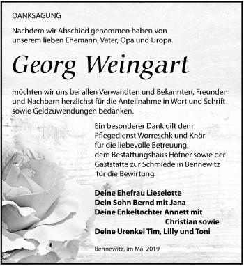 Traueranzeige für Georg Weingart vom 01.06.2019 aus Torgauer Zeitung