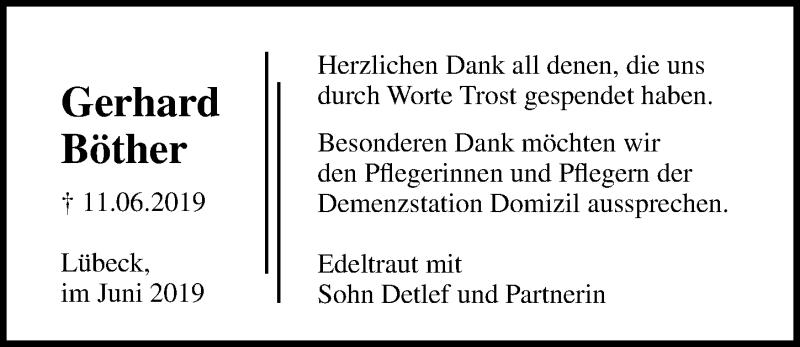 Traueranzeige für Gerhard Böther vom 30.06.2019 aus Lübecker Nachrichten