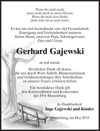 Traueranzeige für Gerhard Gajewski vom 01.06.2019 aus Märkischen Allgemeine Zeitung