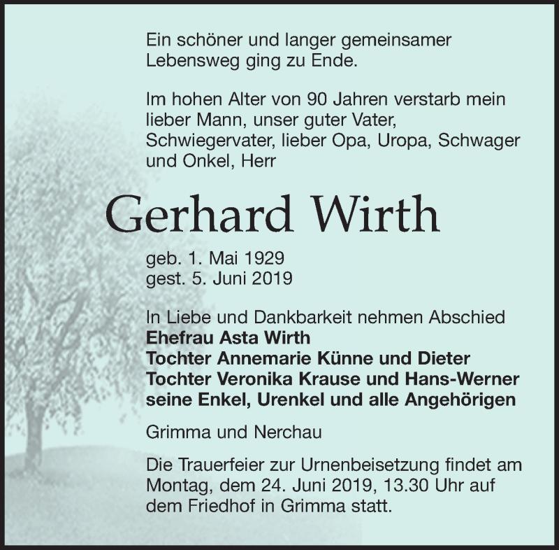 Traueranzeige für Gerhard Wirth vom 08.06.2019 aus Leipziger Volkszeitung