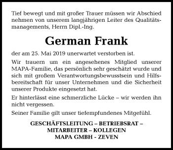 Traueranzeige für German Frank vom 12.06.2019 aus Kieler Nachrichten