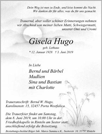 Traueranzeige für Gisela Hugo vom 05.06.2019 aus Schaumburger Nachrichten