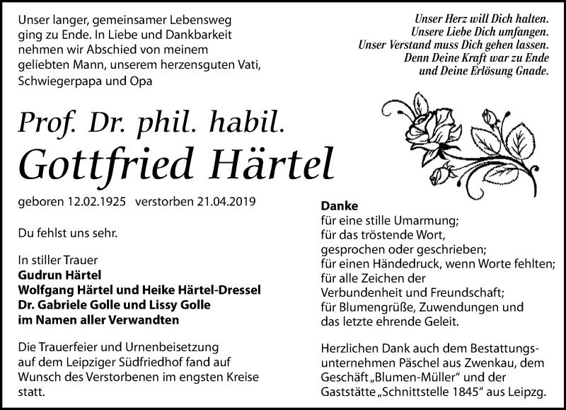 Traueranzeige für Gottfried Härtel vom 01.06.2019 aus Leipziger Volkszeitung