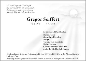 Traueranzeige für Gregor Seiffert vom 12.06.2019 aus Hannoversche Allgemeine Zeitung/Neue Presse