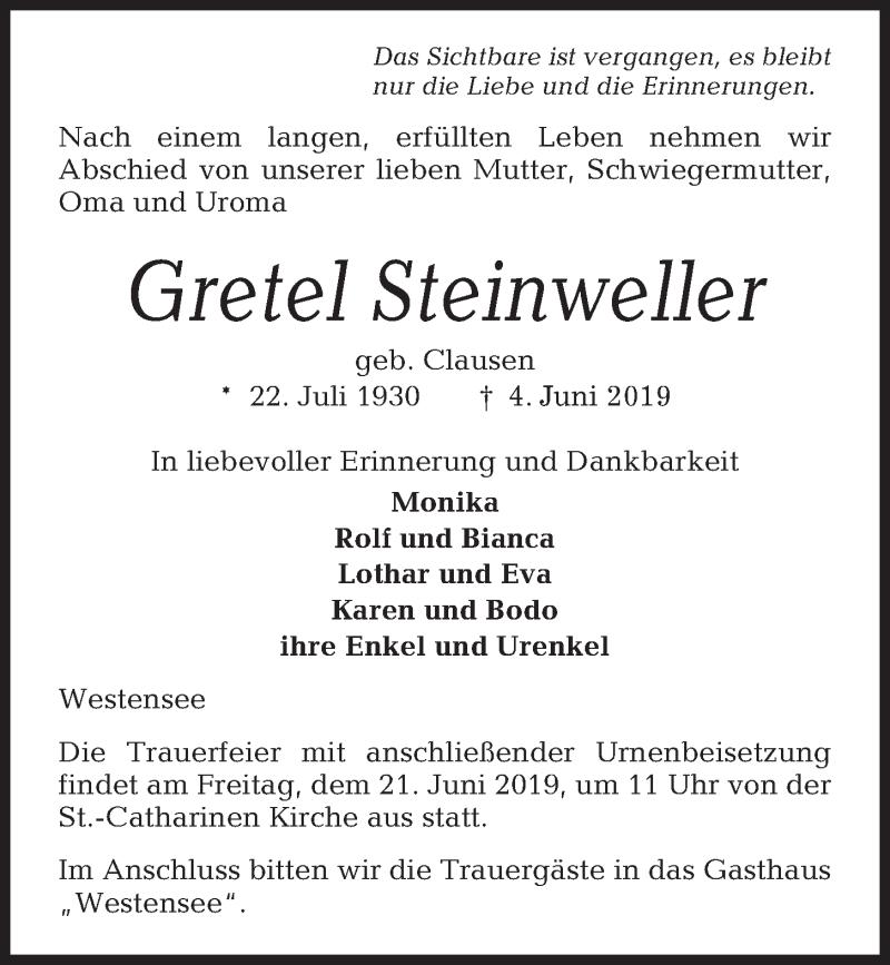 Traueranzeige für Gretel Steinweller vom 08.06.2019 aus Kieler Nachrichten