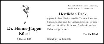 Traueranzeige für Hanns-Jürgen Küsel vom 01.06.2019 aus Schaumburger Nachrichten