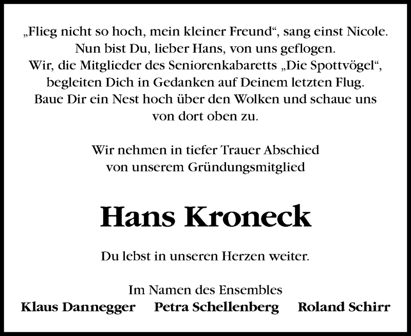 Traueranzeige für Hans Kroneck vom 01.06.2019 aus Leipziger Volkszeitung