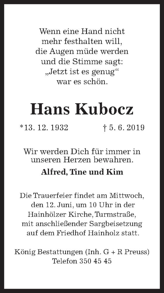 Traueranzeige für Hans Kubocz vom 08.06.2019 aus Hannoversche Allgemeine Zeitung/Neue Presse