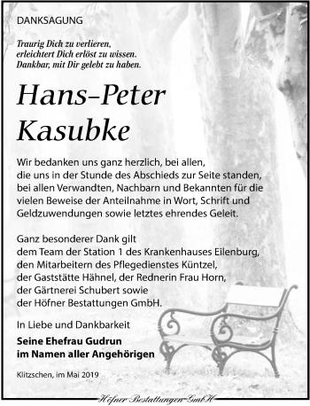 Traueranzeige für Hans-Peter Kasubke vom 01.06.2019 aus Torgauer Zeitung
