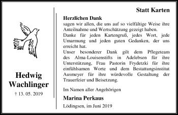 Traueranzeige für Hedwig Wachlinger vom 29.06.2019 aus Göttinger Tageblatt