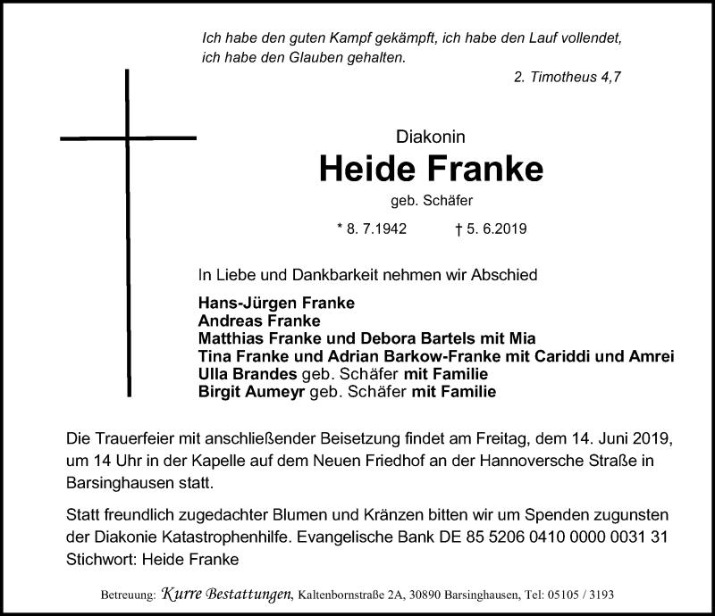 Traueranzeige für Heide Franke vom 08.06.2019 aus Hannoversche Allgemeine Zeitung/Neue Presse