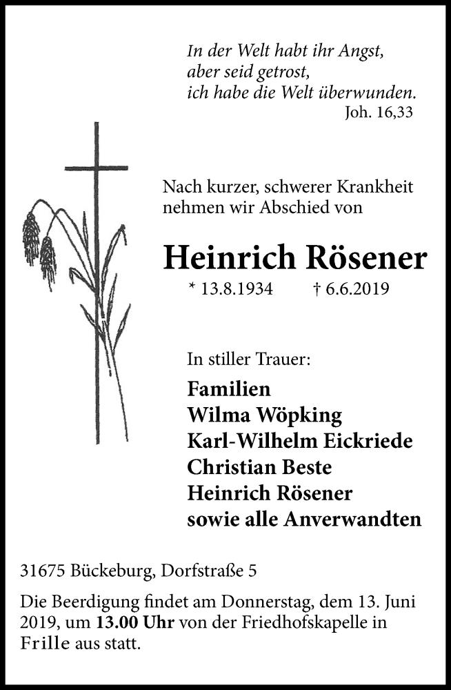 Traueranzeige für Heinrich Rösener vom 12.06.2019 aus Schaumburger Nachrichten