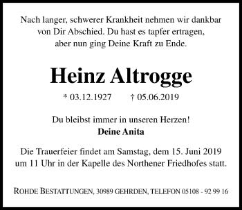 Traueranzeige für Heinz Altrogge vom 12.06.2019 aus Hannoversche Allgemeine Zeitung/Neue Presse
