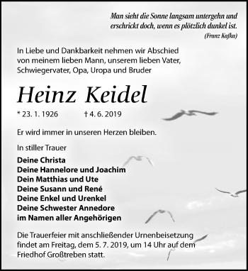 Traueranzeige für Heinz Keidel vom 08.06.2019 aus Torgauer Zeitung