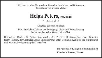 Traueranzeige für Helga Peters vom 01.06.2019 aus Kieler Nachrichten