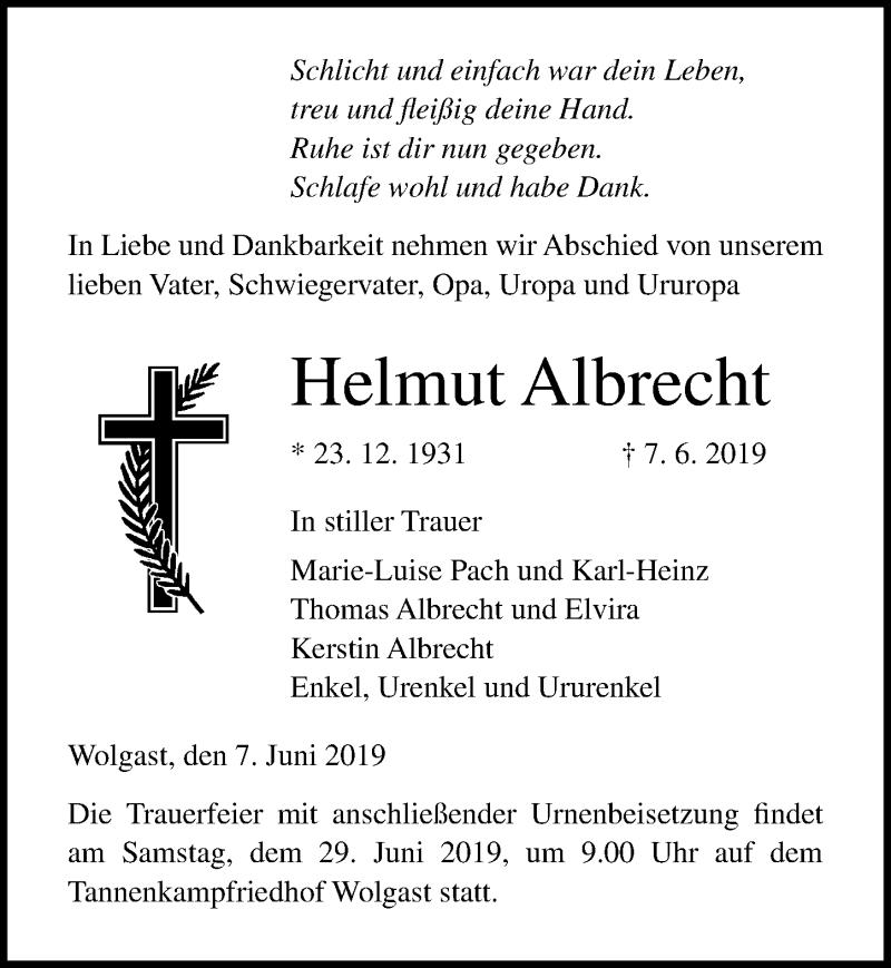 Traueranzeige für Helmut Albrecht vom 15.06.2019 aus Ostsee-Zeitung GmbH