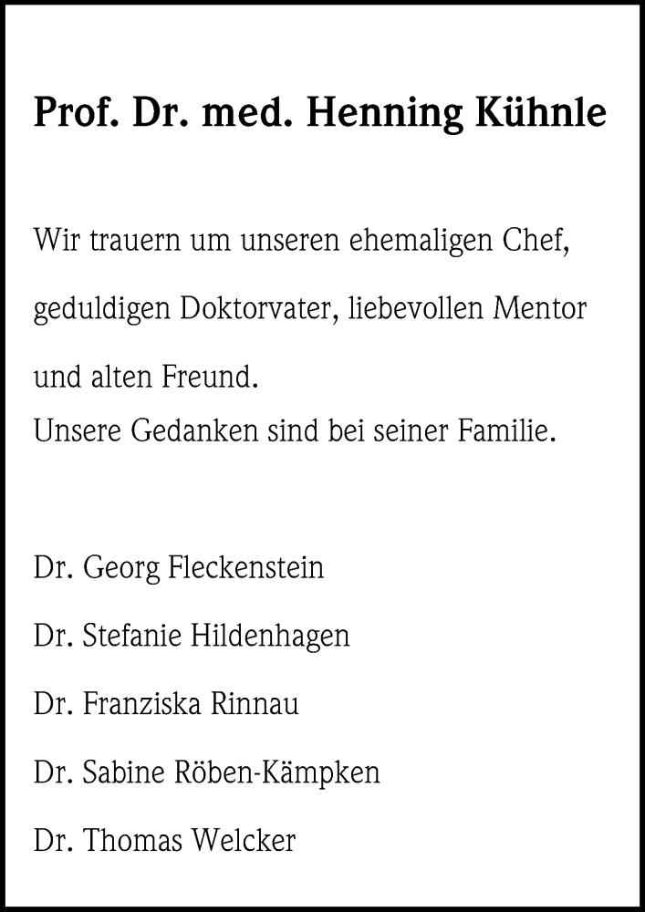 Traueranzeige für Henning Kühnle vom 29.06.2019 aus Göttinger Tageblatt