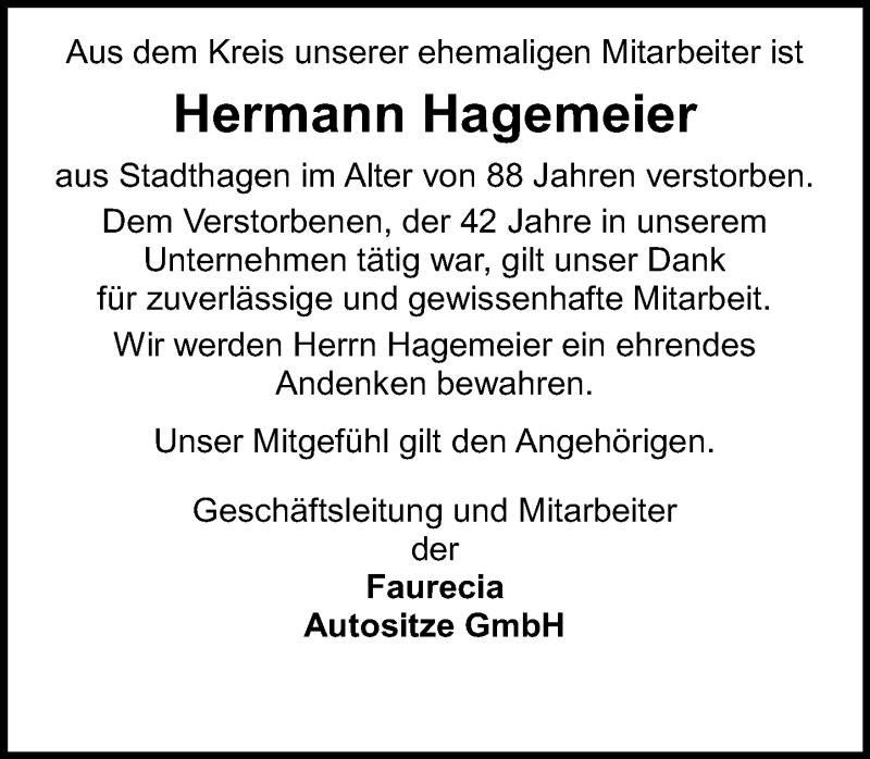 Traueranzeige für Hermann Hagemeier vom 06.06.2019 aus Schaumburger Nachrichten